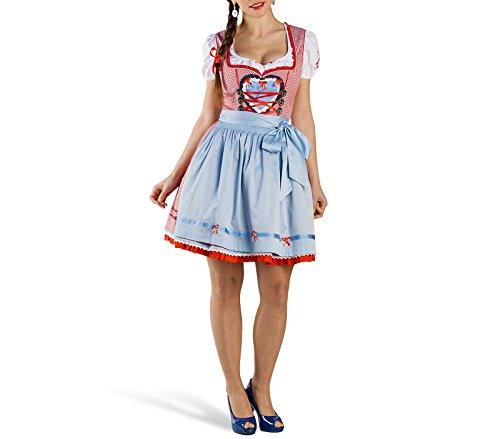 Mini Dirndl Annemarie Deluxe Trachten Kleid Damen mit Schürze rot weiß zum Oktoberfest - S