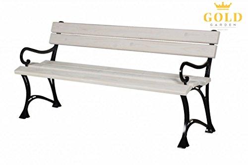 GOLD GARDEN Gartenbank mit Armlehnen TOSKANA Massivholz auf Aluminiumrahmen weiß in 2 Größen (180 cm - 4-Sitzer)