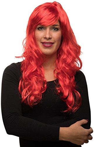 Balinco Sexy Langhaar Damen Frauen Perücke lockig / gewellt für Fasching Karneval Motto Party - 13 Farben (Rot)
