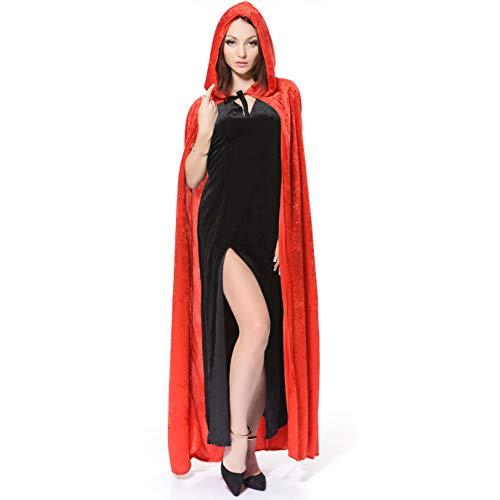 SEA HARE Frauen Regenbogen-Color Hooded Cape Kostüm Halloween-Kostüm (Rot)