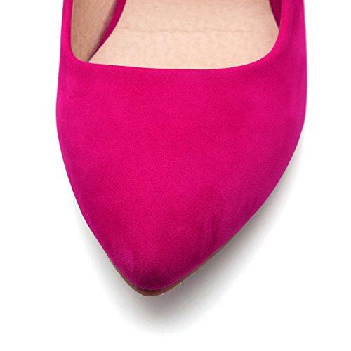 VogueZone009 Donna Tirare Scarpe A Punta Tacco Alto Plastica Puro Ballerine Rosa