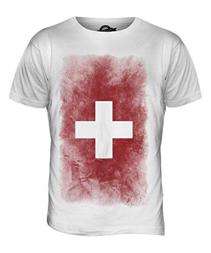 CandyMix Schweiz Verblichen Flagge Herren T Shirt Weiß