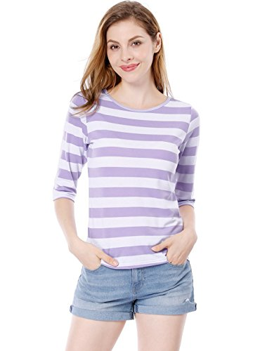 Allegra K Damen Halbelange Ärmel Kontrastfarbe Streifen T-Shirt Hell Lila L(EU 44) (Hellen Streifen Streifen Shirt)