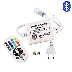 GreenSun LED Lighting Bluetooth Controller für Led Streifen, 24 Tasten IR Remote Control Fernbedienung, 220V Kontroller Steuerung, Netzteil Stecker Kabel für RGB LED Strip Streifen Licht