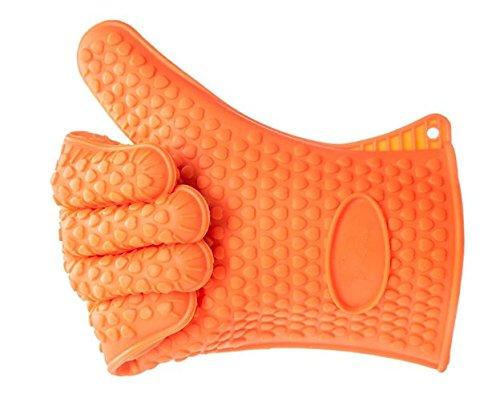 Leeg Topflappen – Silikon und Baumwolle Doppelschicht hitzebeständige Handschuhe/Silikon Handschuhe/Ofen Handschuhe/BBQ Handschuhe – perfekt zum Backen und Grillen(Orange)