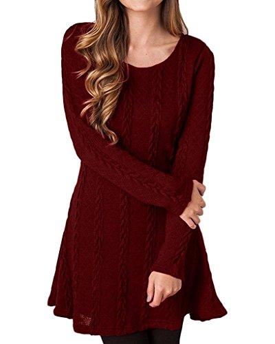 Oderola Damen A-Line Kleid Stricken Chiffon Lace Langarm Jumper Mini Kleid Pullover Strickkleider (Kleider Stricken Hand)