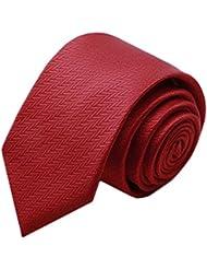 Simple et chic pour homme Business Liens Cravate formelle avec boîte cadeau, rouge foncé cannage fibre
