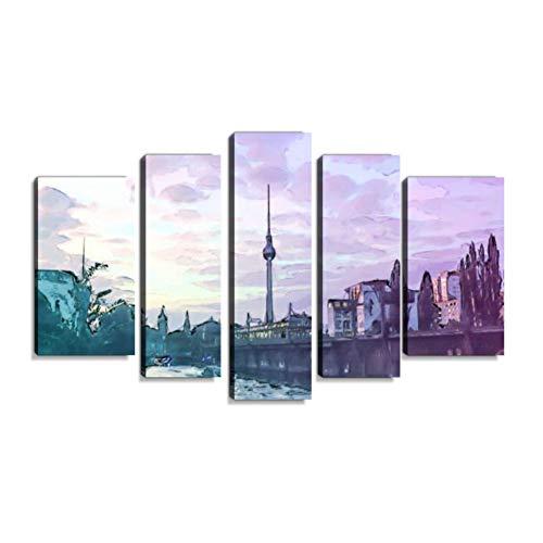 Inbel Kunst Berlin bei Sonnenuntergang - Alexanderplatz Wandbilder abstrakt Leinwandbild Digitalkunstdruck leinwanddrucke Eigenes Design Gemlde Wanddekoration mit Holzrahmen 5-teilig