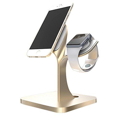 KOBWA für Apple Watch Ständer, Aluminium Ständer Dockingstation Cradle Halter Halterung Ladestation für Smartphone, Apple Watch Series 3/2/1,iPhone 8, IPhone 8 Plus, IPhone X, IPhone 6 Plus, IPhone 6