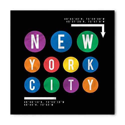 TKMSH NYC Subway Bandana, New York City Lettering, Unisex Head and Neck Tie,Unisex Bandana Head and Neck Tie Neckerchief Headdress Silk-Like 100% Polyester -M -