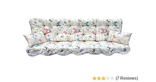 Hockerauflage Natur mit Schmetterlingen 50 x 50 cm