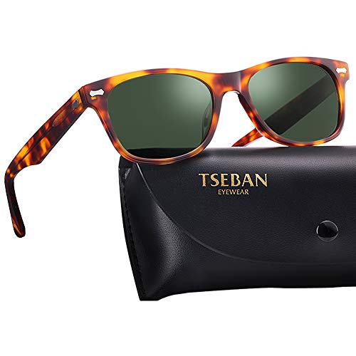 TSEBAN Retro Polarisierte Damen Sonnenbrille Herren Sonnenbrille 100% UV400 Schutz Fahrer Brille Acetat Rahmen (Damen, Damen & Rahmen: Schildpatt; Linsen: Grün)