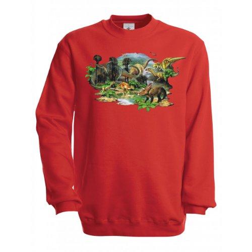 Designs Kinder Sweatshirt (Ethno Designs Kinder Sweatshirt Dino Land, Größe 110/116, red)