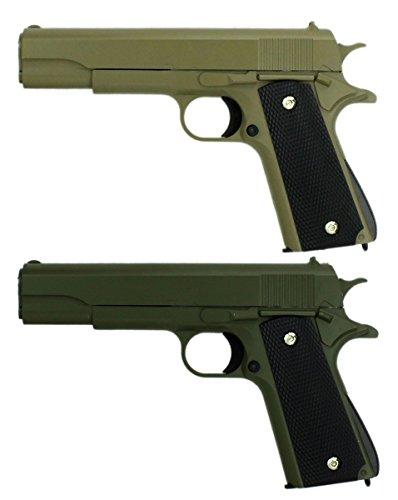 B.W. GYD G13GrSa Doppelpack Vollmetall Pistole 22cm Softair Airgun Gewehr Grün/Sand-Tarn Magazin Federdruck 0,5 Joule Original