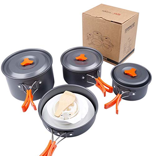 WYDML Camping Cookware Mess Kit für Backpacking Gear und Wandern im Freien Mit Carry Bag, Leichtgewicht Compact, Durable Pot Pan Bowls Für 4-5 Person Person Cookset