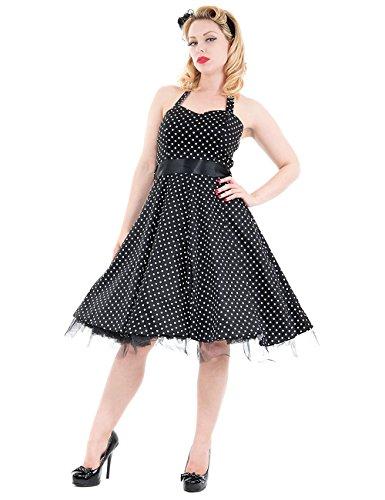 H&R London Neckholder-Kleid Mini Dotted Black-White UK18 XXL