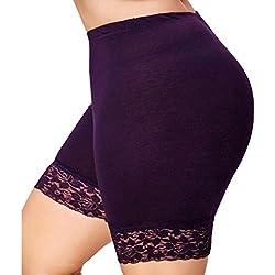 SHOBDW Moda Las Mujeres de Encaje Tallas Grandes Cintura Media Faldas escalonadas Falda Corta bajo Pantalones de Seguridad Ropa Interior (XL, Blanco)