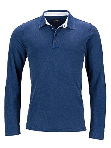 Herren langarm Polo Shirt im Washed Look Longsleeve Poloshirt Hemd Pique Qualität navy/white-light-blue