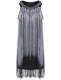 PrettyGuide Women's 1920s Long Swinging Fringe Chain Coil Braided Trim Neck Flapper Dress