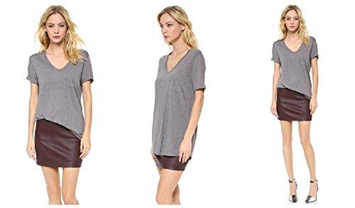 Butterme Sommer Basic Baumwolle mit kurzen Ärmeln Damen Fest V-Ausschnitt T-Shirts Bluse Grau