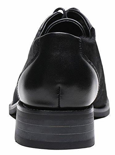 SimpleC et Découpé lempeigne Cheveux Vachette à des à Confortables Derbies Cuir Richelieu Doux Noir Chaussures Souples avec de en Femme Lacets Oxfords TRTrp0