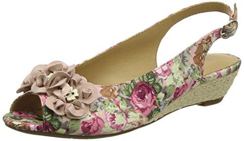 Hotter Damen Betsy Offene Sandalen mit Keilabsatz Multicolour (Rose Floral)