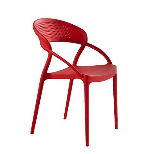 LXQGR Plastikgartenstühle, fauler Schemel der Art, Plastikstuhl der nordischen Gaststätte erwachsenes kreatives Netzrot der einfachen modernen Art und Weise starke Rückenlehne, die Stuhlschreibtischst