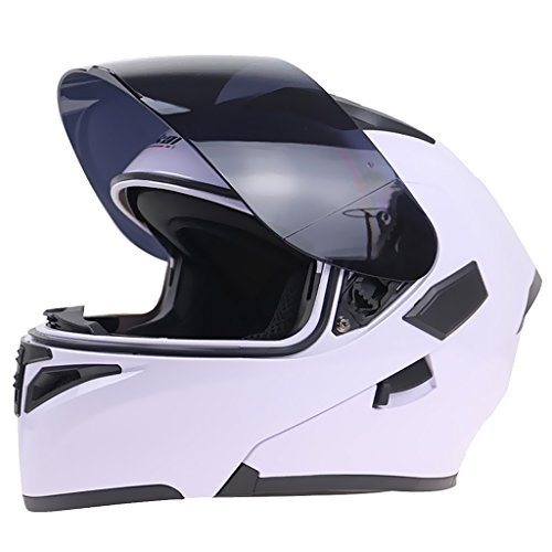 Sharplace casco modulare doppia visiera apribile flip up anti graffio per moto corsa - bianco - xxl bianco