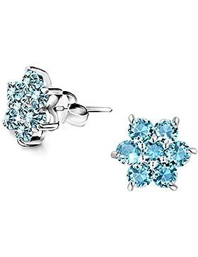 Color Jewels Schneeflocke-Ohrstecker - 925 Sterling Silber mit Sapphire