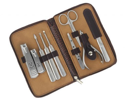 no2-warehouse-9in1-new-men-manicure-grooming-set-kit-nail-clipper-leather-case-groomtravelling-kit-a