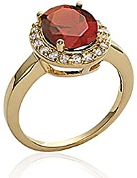 ISADY - AvaRu Gold Rubin - Damen Ring Solitär - 18 Karat (750) Gelbgold platiert - Zirkonium transparent und rot