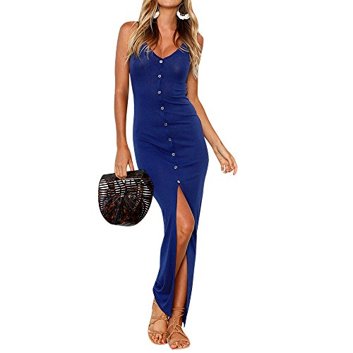 Shujin Damen Sommer Clubwear Spaghetti Trägerkleid mit Knopf Vorne Schlitz Sexy Eng Partykleid...