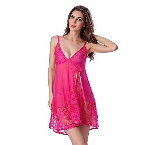 QingJiu Damen Spitze Sexy Nachtwäsche Unterwäsche Babydoll Nachtwäsche Kleid + String Set
