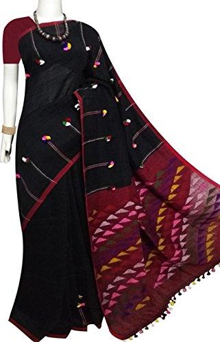 Bursana 80 count pure linen cotton saree in black & maroon color,...