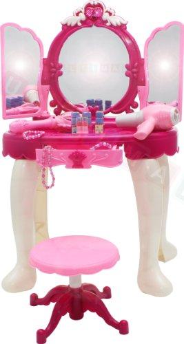 Frisiertisch Schminkkommode Schminktisch Schminkstudio Kinderschminktisch Set mit Spiegel und Hocker