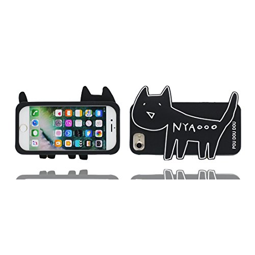 Case iPhone 6S Coque, TPU Material Flexible Étui iPhone 6 / 6s Cover, Preuve de choc [ 3D Cartoon Mini chat ] - Pretty Soft Noir Noir