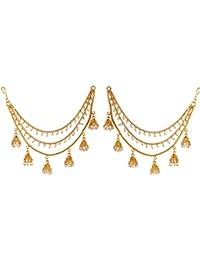 Zeneme Gold Plated Long Hair Chain Jewellery For Women & Girls