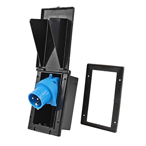 Preisvergleich Produktbild Powerpart CEE Aussensteckdose schwarz Spritzwasser geschützt 200-250V,  16A,  3 polig