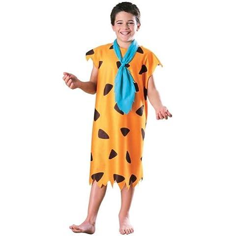 Costume Fred Flintstone bambino - Colore - Arancione, Taglia - Medium 5 - 7 Anni 132 cm