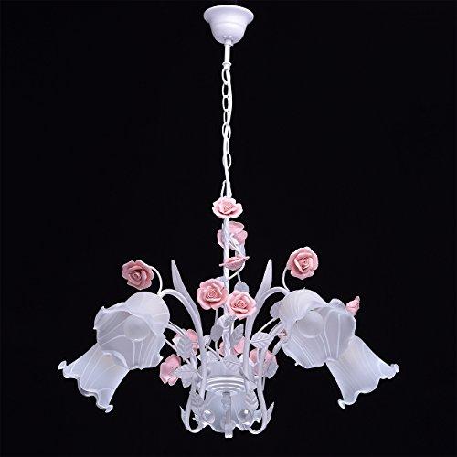 Deckenleuchte Metall weiß Farbe rosa Florentiner art deco Porzellan weiß - 3