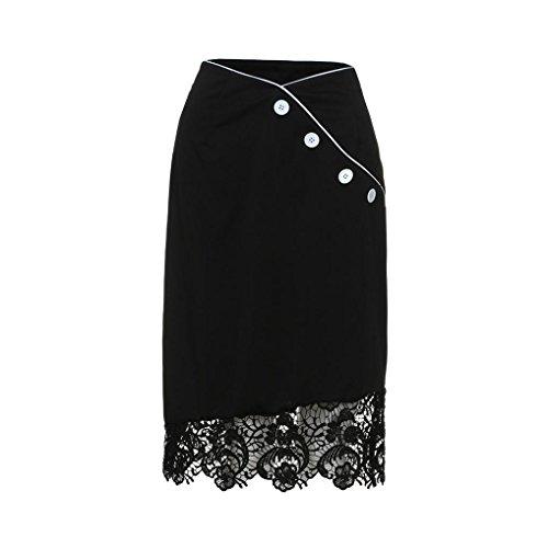 QUINTRA Womens Button Lace Pleated Elasticated Waist Long Skirt Summer Short Mini Skirt