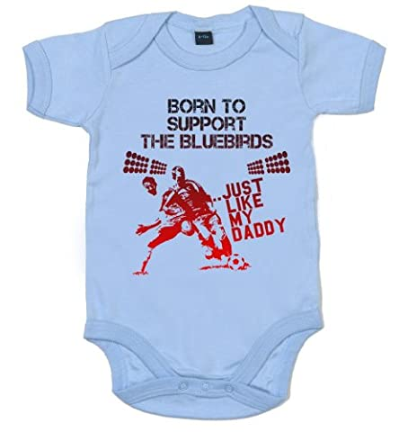 IiE, Born to support The Bluebirds Just like my Daddy, Baby Unisex Bodysuit, 0-3m, Pale Blue
