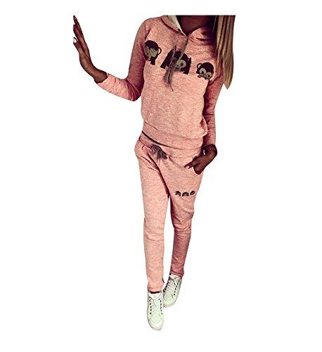 Baymate Damen Trainingsanzug Affe Muster Drucken Hoodie Sweatshirt Anzug mit Hose 2pcs Rosa XL -