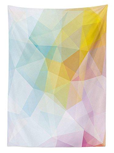 Yeuss Abstrakt Tischdecke Pale Modern Rainbow Ombre eingefärbte Bild Squares Sharp Lines, Esszimmer Küche Tisch, rechteckig, Cover, Gelb Pink Hellblau, 132,1x 177,8cm, 60