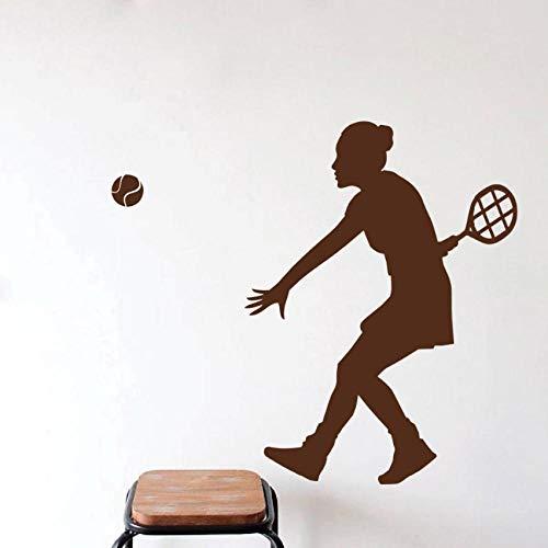 Qvzxn Frau Tennis Spieler Silhouette Wandtattoo Sport Mädchen Spielen Tennis Kunst Wandaufkleber Home Room Decor Wandtattoos 58X43 Cm (Mädchen Silhouette Charme)
