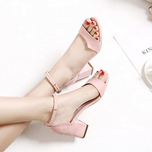 fan4zame Frauen Stöckelschuh Fashion Sandalen Schuhe beständig slipers Cool angenehm atmungsaktiv Sandalen 36 naked Pink