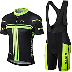 INBIKE Conjunto Ropa Equipacion Traje Ciclismo Hombre para Verano, Maillot Ciclismo Hombre+Culotte Ciclismo Culote Bicicleta (L)