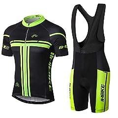 Idea Regalo - Inbike Body Tuta Ciclismo Estivo con Bretelle e Pantalocini Corti Imbottiti Gel da MTB Uomo(L)