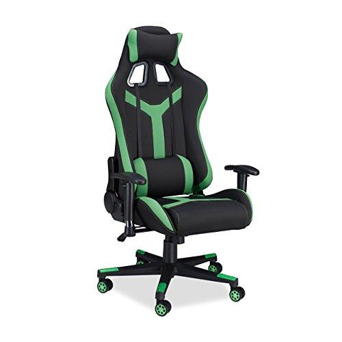 Relaxdays 10022877_53 sedia da gaming xr10 poltrona da gamer per scrivania computer poltroncina professionale fino a 120 kg nero verde