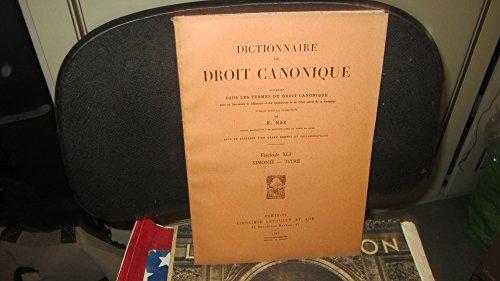 Dictionnaire de droit canonique,contenant tous les termes du droit canonique...sous la direction de R.Naz - Fascicule XLI (41),Simonie - Titre,1962